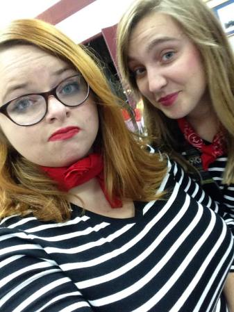 """Me and Carissa, dressed as """"French Horns"""" for Halloween"""